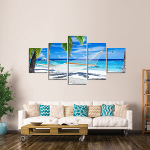 Caribbean Hammock Multi Panel Canvas Wall Art - Beach