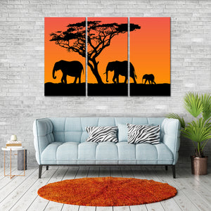 3 Elephants Multi Panel Canvas Wall Art - Elephant