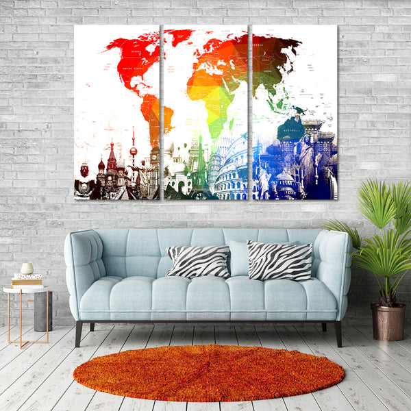 Rainbow World Map Masterpiece Multi Panel Canvas Wall Art