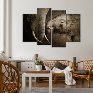 Wooden Elephant Affection Multi Panel Canvas Wall Art - Elephant