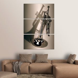 Trumpet Brass Multi Panel Canvas Wall Art - Music