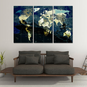 Battleship World Map Multi Panel Canvas Wall Art - Army