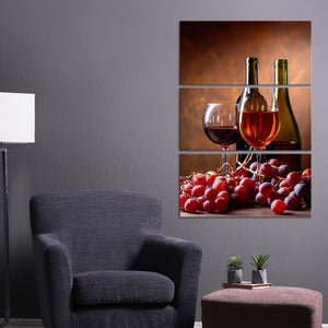 Savour Delicious Red Wine Multi Panel Canvas Wall Art - Winery