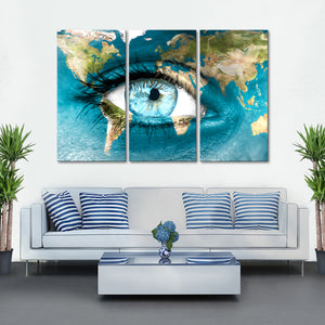 Planet Earth Eye Multi Panel Canvas Wall Art - World_map