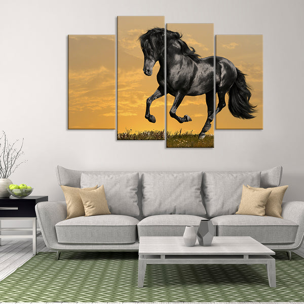 Black Horse At Sunset  Multi Panel Canvas Wall Art