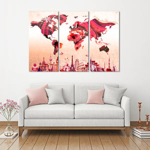 Textured Rose Gold World Map Masterpiece Multi Panel Canvas Wall Art - World_map