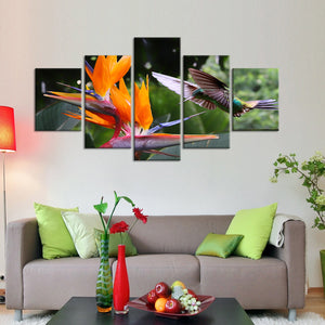 Flying Hummingbird Multi Panel Canvas Wall Art - Bird