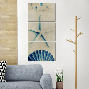 Seashells In Blue Multi Panel Canvas Wall Art - Nautical