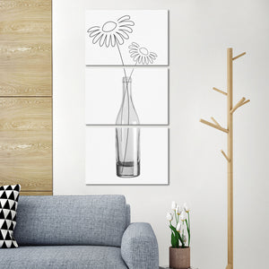 Minimal Flowers Multi Panel Canvas Wall Art - Flower