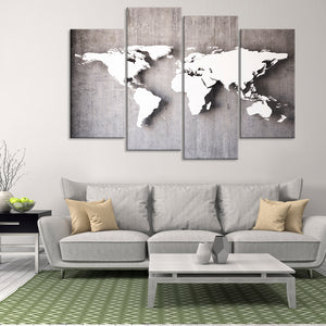 3D Iron World Map Multi Panel Canvas Wall Art - World_map