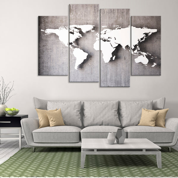D Iron World Map Multi Panel Canvas Wall Art ElephantStock - 3d world map wall art