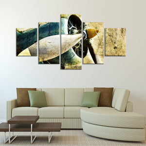 Grunge Engine Multi Panel Canvas Wall Art - Airplane