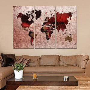 Ruby World Map Multi Panel Canvas Wall Art - World_map