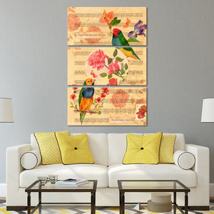 Finches And Roses Multi Panel Canvas Wall Art - Shabby_chic