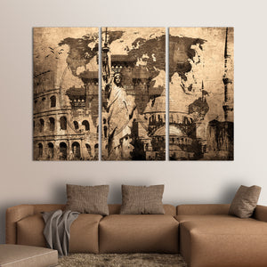 Landmark World Map Multi Panel Canvas Wall Art - World_map