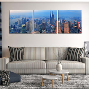Shanghai Aerial View Multi Panel Canvas Wall Art - City