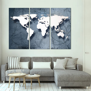 3D Stone World Map Multi Panel Canvas Wall Art - World_map