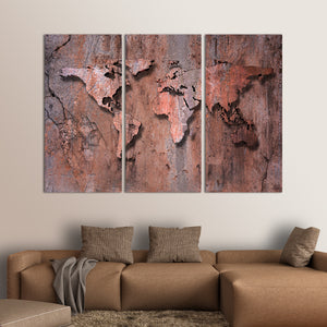3D Rock World Map Multi Panel Canvas Wall Art - World_map
