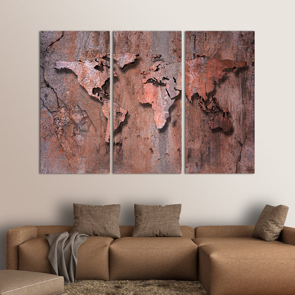 3D Rock World Map Multi Panel Canvas Wall Art