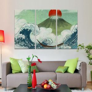 Kanagawa Graffiti Multi Panel Canvas Wall Art - Graffiti
