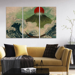 Sunrise Over The Waves Graffiti Multi Panel Canvas Wall Art - Graffiti