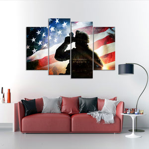 Worth Fighting For Multi Panel Canvas Wall Art - Army