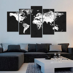 Charcoal World Map Multi Panel Canvas Wall Art - World_map