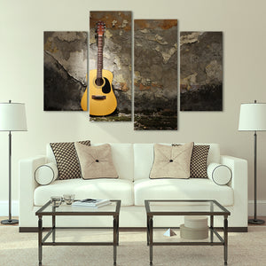 Grunge Acoustic Guitar Multi Panel Canvas Wall Art - Guitar