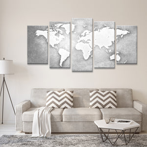 Platinum World Map Multi Panel Canvas Wall Art - World_map