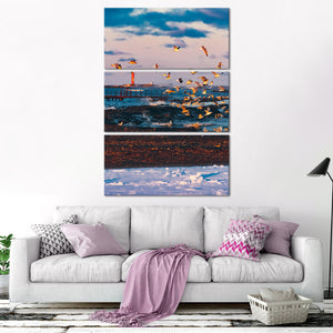 Flying Seagulls Multi Panel Canvas Wall Art - Beach