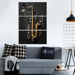 Play The Saxophone Multi Panel Canvas Wall Art - Saxophone