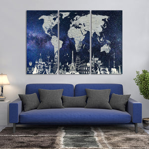 Starry World Map Masterpiece Multi Panel Canvas Wall Art - World_map
