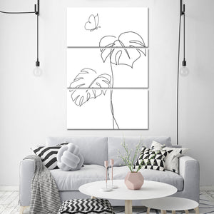 Butterfly Leaf Multi Panel Canvas Wall Art - Botanical