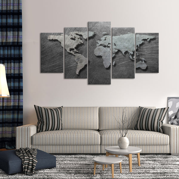 3d steel world map multi panel canvas wall art elephantstock 3d steel world map multi panel canvas wall art gumiabroncs Gallery