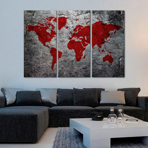 Boulder World Map Multi Panel Canvas Wall Art - World_map