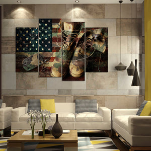 Remember and Honor Multi Panel Canvas Wall Art - Army