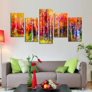 Autumn Trees Abstract Multi Panel Canvas Wall Art - Abstract