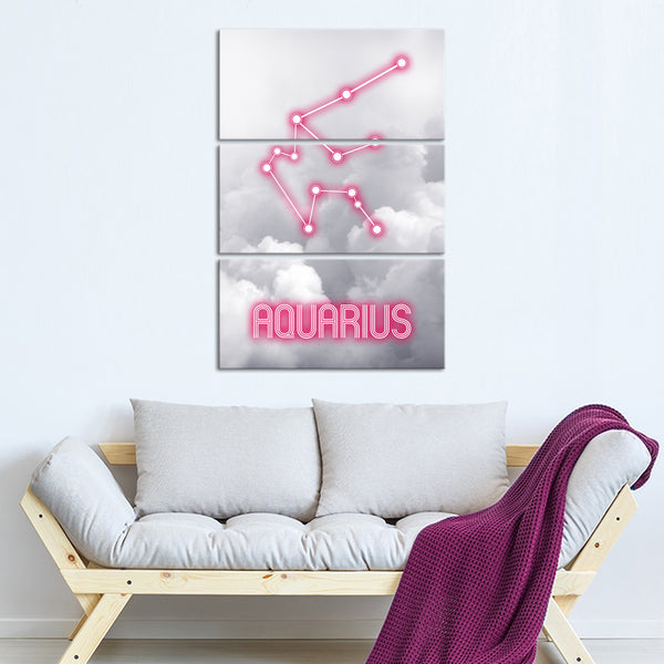 Aquarius Constellation Multi Panel Canvas Wall Art