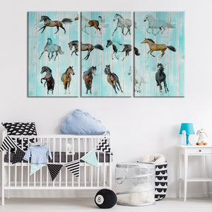 Array of Horses Multi Panel Canvas Wall Art - Kids