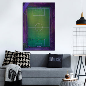 Soccer Stadium Aerial View Multi Panel Canvas Wall Art - Soccer