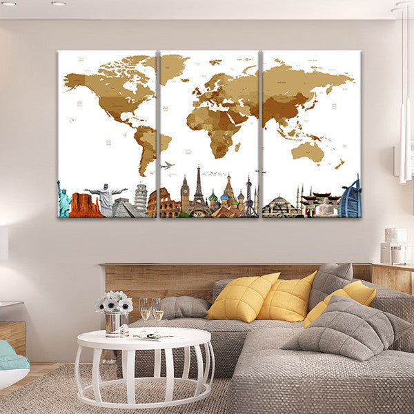 Bronze world map masterpiece multi panel canvas wall art elephantstock bronze world map masterpiece multi panel canvas wall art gumiabroncs