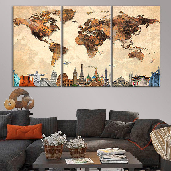 Rustic world map masterpiece multi panel canvas wall art rustic world map masterpiece multi panel canvas wall art gumiabroncs Image collections