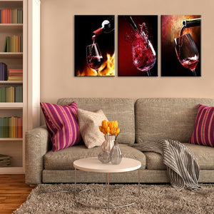 Wine Purring Multi Panel Canvas Wall Art