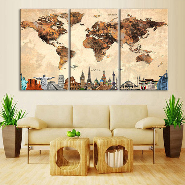 Rustic World Map Masterpiece Multi Panel Canvas Wall Art | ElephantStock