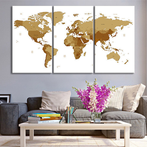 Bronze World Map Multi Panel Canvas Wall Art