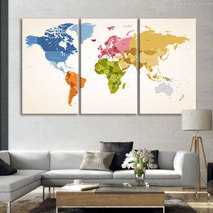 Vintage Colors World Map Multi Panel Canvas Wall Art