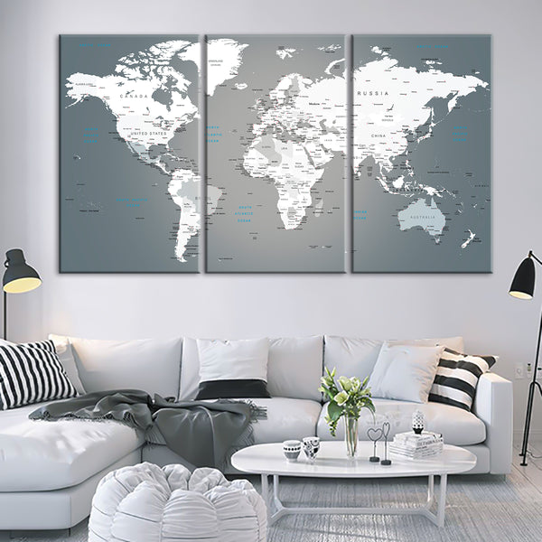 Push pin world map multi panel canvas wall art elephantstock push pin world map multi panel canvas wall art gumiabroncs Image collections