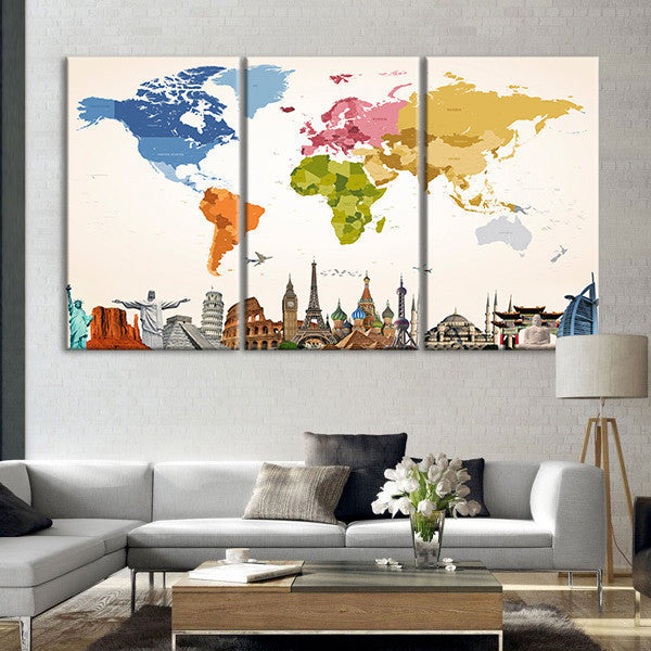 Vintage Colors World Map Masterpiece Multi Panel Canvas Wall Art - Colorful world map painting