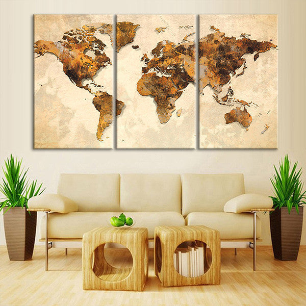 Rustic World Map Multi Panel Canvas Wall Art | ElephantStock