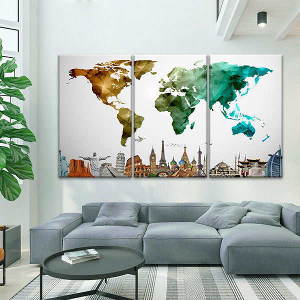 Modern abstract world map masterpiece multi panel canvas wall art modern abstract world map masterpiece multi panel canvas wall art gumiabroncs Gallery